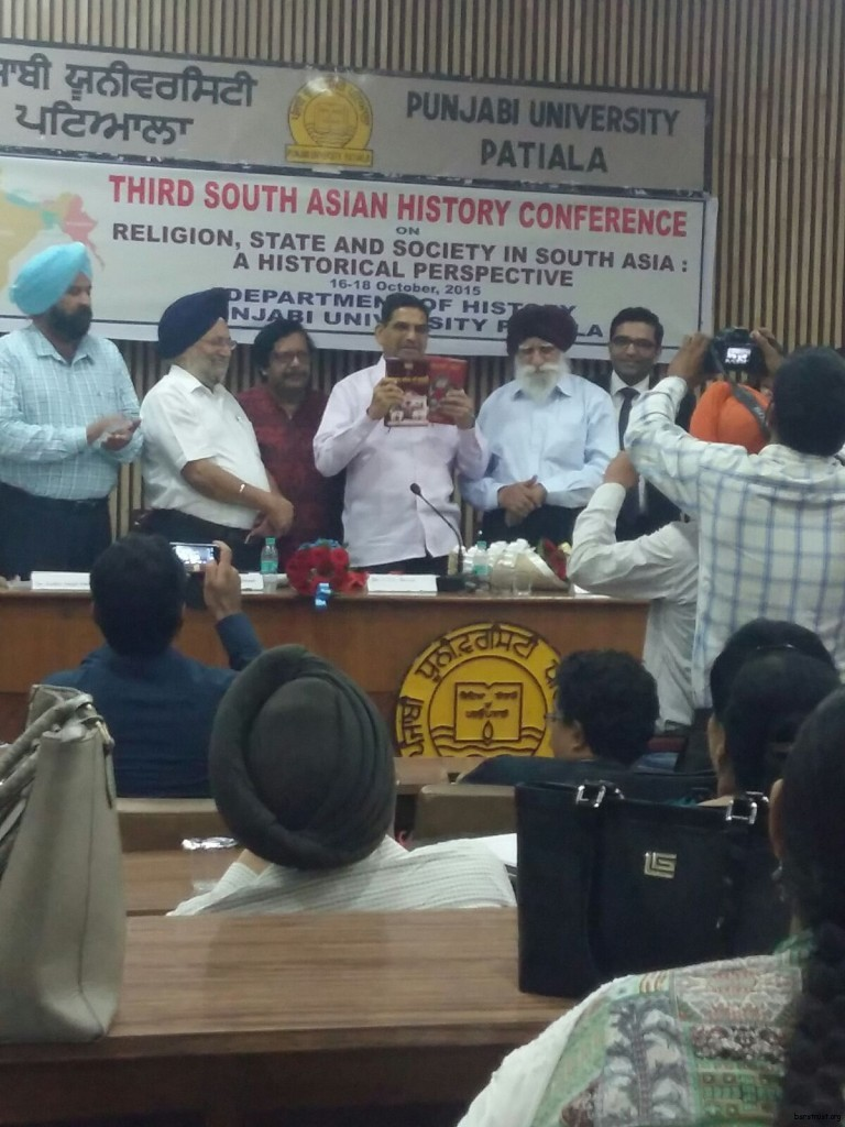 Dr.G.S.L.Devra, the honorable former Vice Chancellor of Indra Prastha  University Koyata of Rajsthan  releasing two books 'Ghadar Lehar Di Kahani' and 'Ghadri Yodhe' edited by S. Jaiteg Singh Anant at the final day of the 3rd three days South Asian History Conference, organized by History Department of Punjabi University Patiala on 18 October 2015. S. Jaiteg Singh Anant, Kulvir Singh Dhillon, Dean and Dr.Jaspal Kaur Dhanju Head of the History Department are also in the picture.